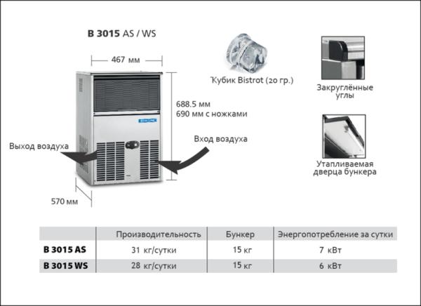 Льдогенератор SCOTSMAN B 3015 WS (кубик)